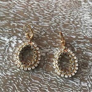 Anthropologie Mini Hoop Crystal Drop Earrings